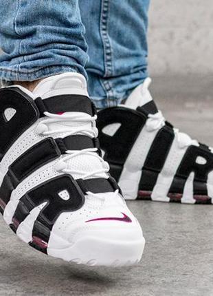 Шикарные женские кроссовки nike air more uptempo white black ч...