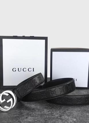 Мужской кожаный ремень gucci в подарочном наборе