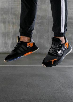 Шикарные мужские кроссовки adidas nite jogger core black чёрные