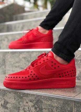 Шикарные мужские кроссовки nike air force low 1 red красные ни...
