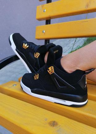 Шикарные женские кроссовки nike air  jordan retro 4 black чёрные