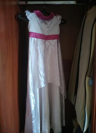Платье праздничное длинное бело- розовое для девочки