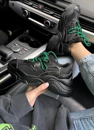 Шикарные женские кроссовки n•21 black/ green чёрные с зеленым