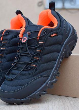 Лёгкие термо полуботинки merrell vibram черные с оранжевым