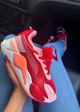 Шикарные женские кроссовки puma rs-x red