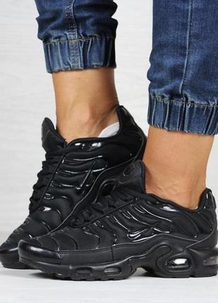 Шикарные женские кроссовки nike air max tn + plus чёрные