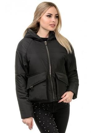 Шикарная женская куртка осеняя чёрная