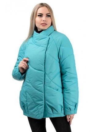 Шикарная женская осеняя куртка голубого цвета