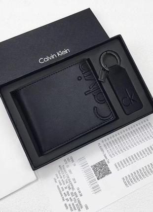 Мужской кожаный кошелек calvin klein чёрный бумажник