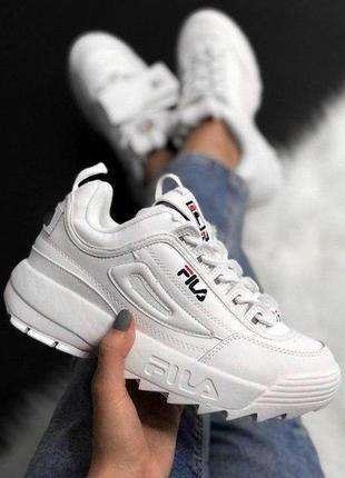 Шикарные женские кроссовки fila disruptor 2 white белые