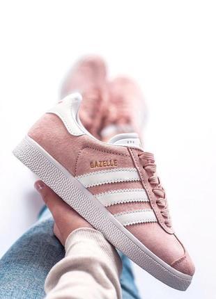 Шикарные женские кроссовки adidas gazelle pink розовые