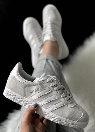 Шикарные женские кроссовки adidas gazelle grey серые