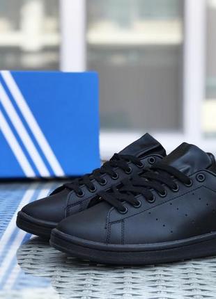 Шикарные женские кроссовки adidas stan smith чёрные