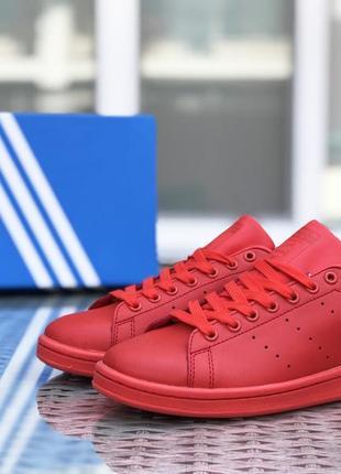 Шикарные женские кроссовки adidas stan smith красные