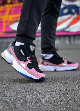 Шикарные женские кроссовки adidas falcon black pink розовые с ...