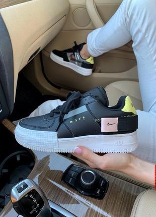 Шикарные женские кроссовки nike air force 1 type n.354 чёрные