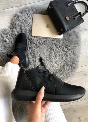 Шикарные женские кроссовки adidas tubular defiant black чёрные