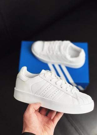 Шикарные женские кроссовки adidas superstar platform white белые