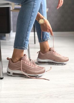 Шикарные женские кроссовки nike air max 97 swarovski pink розовые