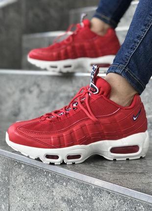 Шикарные женские кроссовки nike air max 95 red красные