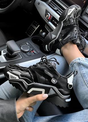 Шикарные женские кроссовки calvin klein black чёрные рефлектив...