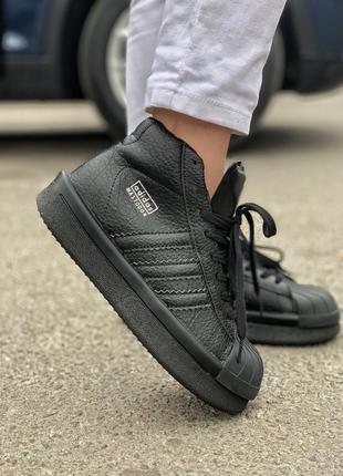 Шикарные женские кроссовки adidas rick owens triple black чёрн...