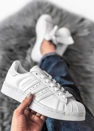 Шикарные женские кроссовки adidas superstar white белые