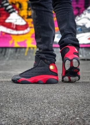 Шикарные мужские кроссовки nike air jordan 13 black red чёрные...