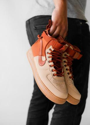 Шикарные мужские кроссовки nike air force hight brown коричнев...