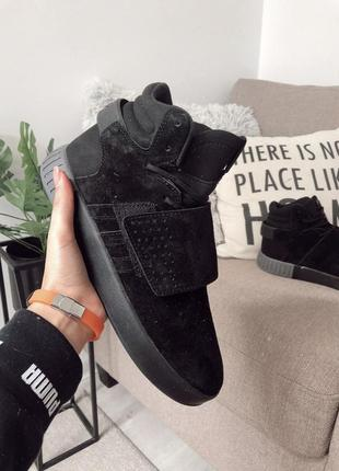 Шикарные мужские кроссовки adidas tubular invader black чёрные...