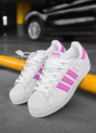 Шикарные женские кроссовки adidas superstar white pink белые😃 ...