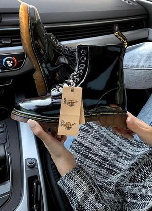 Шикарные женские ботинки dr. martens patent low чёрные😃 (весна...