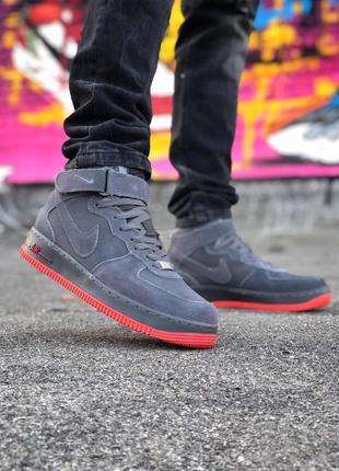 Шикарные мужские кроссовки nike air force 1 high grey на меху ...