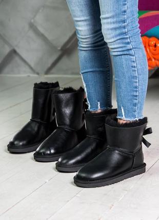 Шикарные женские сапоги ботинки ugg black чёрные высокие кожан...