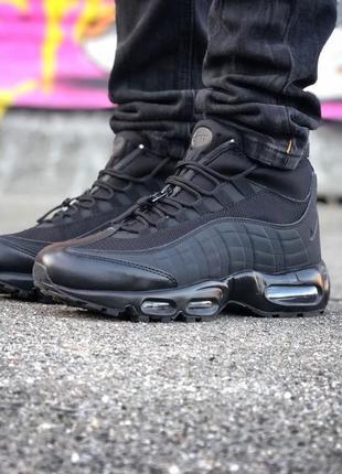 Шикарные мужские ботинки nike air max 95 sneakerbots black чёр...
