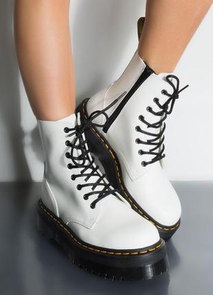 Шикарные женские ботинки dr. martens jadon белые white 😃 (весн...