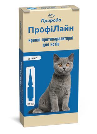 Природа ПрофиЛайн капли спот-он от блох и клещей для кошек до 4кг