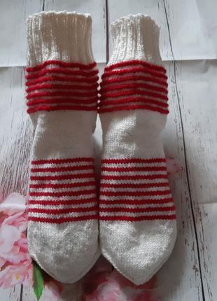 Вязаные зимние носки с узором Полоски ручная работа 39-40 размер