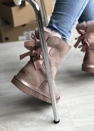 Шикарные женские сапоги угги ugg bailey bow 2 pink розовые 😃 (...