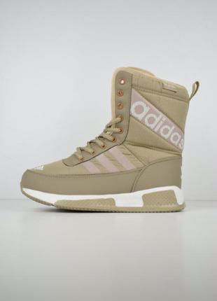 Шикарные женские сапоги ботинки дутики adidas бежевые😃 (зима)