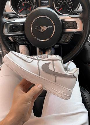 Шикарные мужские кроссовки nike air force 1 low white reflecti...