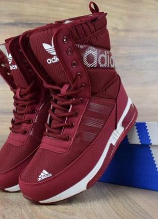 Шикарные женские сапоги ботинки дутики adidas бордовые😃 (зима)