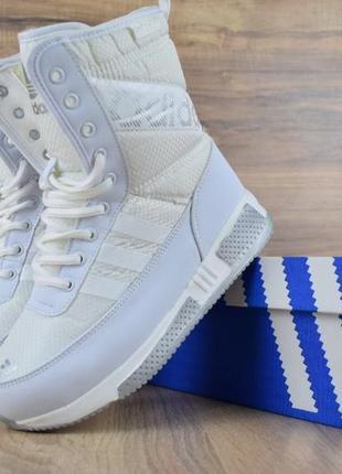 Шикарные женские сапоги ботинки дутики adidas белые😃 (зима)