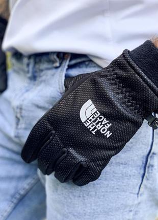 Мужские перчатки на флисе the norh face black чёрные😃 (осень з...