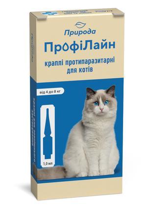 Природа ПрофиЛайн капли спот-он от блох и клещей для кошек от ...