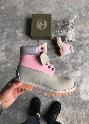 Шикарные женские ботинки timberland boots grey😃(осень евро-зима)