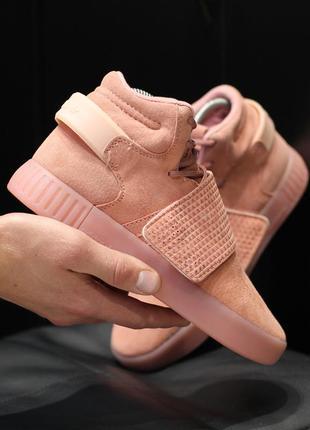 Шикарные женские кроссовки adidas tubular invander pink розовы...