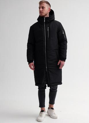 Шикарная мужская удлиненная парка снеговик чёрная зимняя