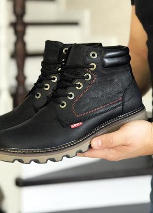 Шикарные мужские ботинки levis чёрные с мехом зимние😃(зима)