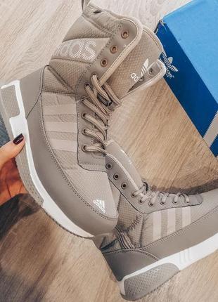 Шикарные женские сапоги дутики adidas бежевые😃(зима)